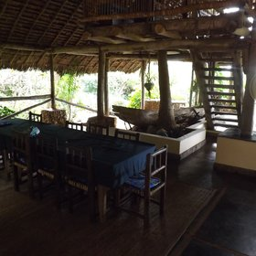 The main lodge also includes a dining area,...
