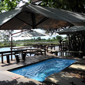 The camp's small plunge pool is perfect for cooling off in the afternoons