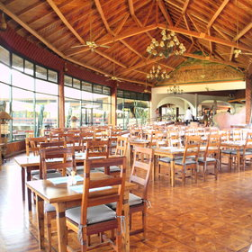 Buffet breakfasts and dinners are served in the large restaurant...