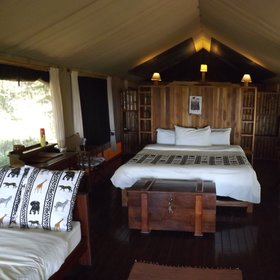 The tents at Vuma Hills are spacious and simply furnished.