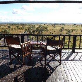 The huge veranda has stunning views over the Mwanamboga waterhole...
