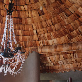 The ceilings in the main areas have been beautifully covered with banana leaves.