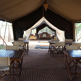 The dining tent is set to one side…