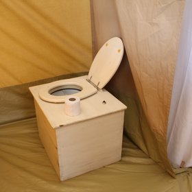 ...with an eco toilet, perfect for a mobile camp for a low footprint.