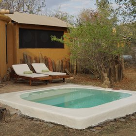 Outside each room you'll find a plunge pool to cool off.