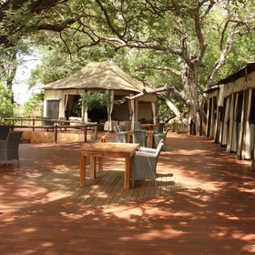 Nambwa Tented Lodge is located high up on wooden decks and walkways...