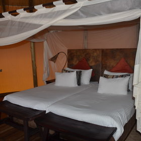 ...and contain twin beds surrounded by mosquito nets,...