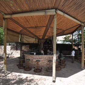 The main area is built in the style of a traditional African village.