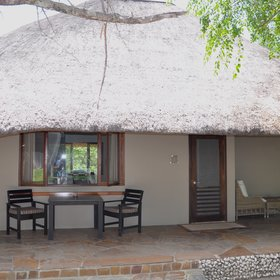 The ten thatched chalets are tastefully furnished and spacious.