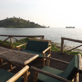 You can sit outside and take in the views of the Lake Kivu...