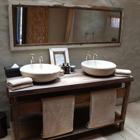 Each chalet has an en-suite bathroom, with his and hers washbasins…