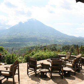 Virunga Lodge has stunning views of the Virunga Volcanoes…