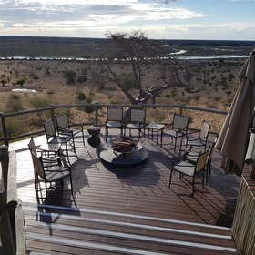 ... while enjoying the view of the Chobe River and the adjacent floodplain.