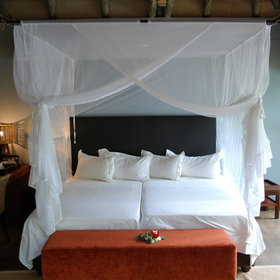 Each chalet is equipped with comfortable beds...