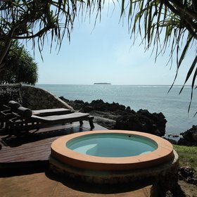 Two of the cottages have their own private plunge pool with views out towards Mnemba Island.