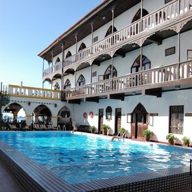 The lively pool is located in the central courtyard…