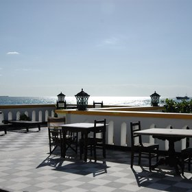 ...and the terrace is situated next to the beach so there is often a light sea-breeze...
