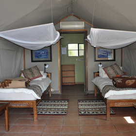 ...but are equipped with double and single beds that all have mosquito nets above them...