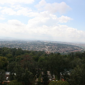 With floor to ceiling windows, each room has beautiful views over Kigali.