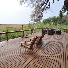 The main area at Kwetsani has a large wooden deck...