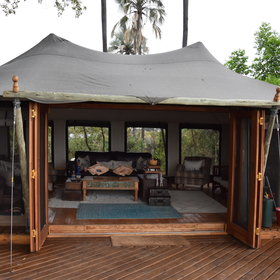 The main area at Pelo consists of two large tents on a raised deck...