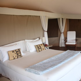 The guest tents are stylish and roomy, with very large beds…