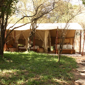 The luxury tents in the main camp are spacious...
