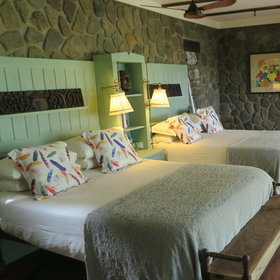... two comfortable double beds, ...