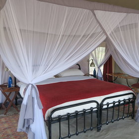 ... inside the tents are spacious with wrought iron beds ...