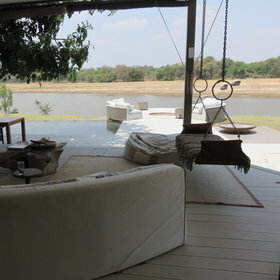 The main area has great views over the Luangwa River...
