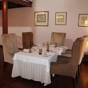The main lodge dining room is spacious and airy...