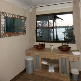 Enjoy the stunning views over the Zambezi River from the chalets...