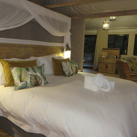 Old Drift's 14 tented chalets are elegantly decorated …