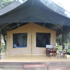 The traditional tented rooms are spread through a shady wooded area...