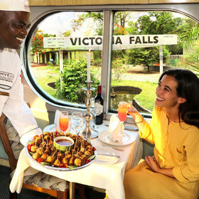 The Stimela Star is an overnight train from Victoria Falls to Hwange National Park.