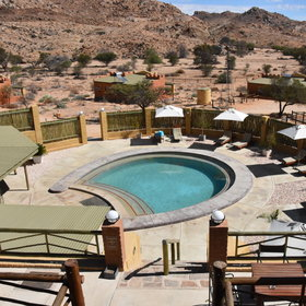 Outside the newest addition to the lodge is a horseshoe shaped pool.