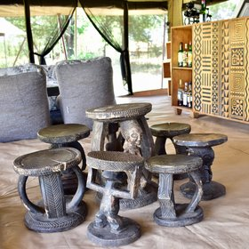 Carved wooden tables add character...