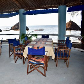 ... or the dining area overlooking the beach.