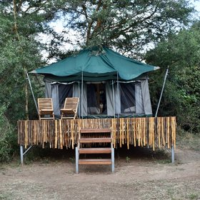 The camp consists of eight safari tents, all raised up on wooden platforms...
