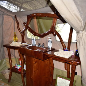 The tents have en-suite bathrooms equipped with a beautiful sideboard and basin…