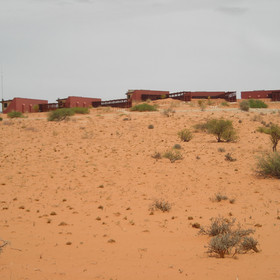 Kielie Krankie is situated on top of a red Kalahari dune...
