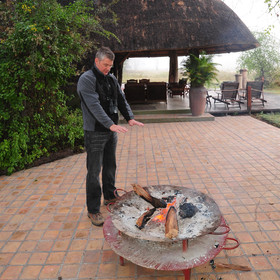 ...a fire-pit provides a nice spot to warm up in the mornings or while away the evenings.