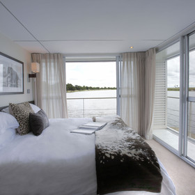 Each of the 14 cabins offers fantastic vistas of the banks of the Chobe River...