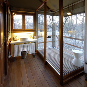 The en-suite bathrooms include a shower with a view!