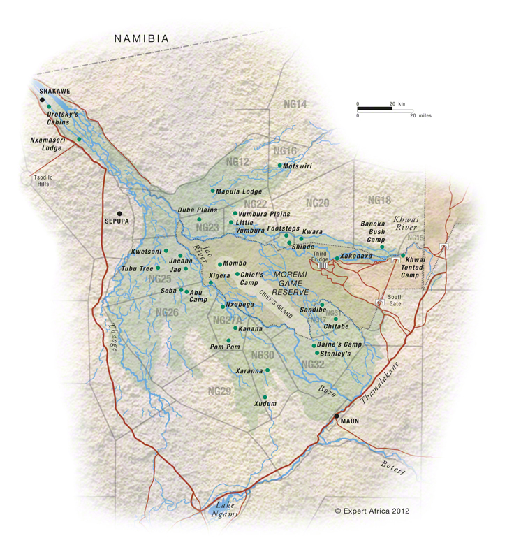 Botswana South Africa Map.Map Of Moremi Game Reserve Botswana C Expert Africa