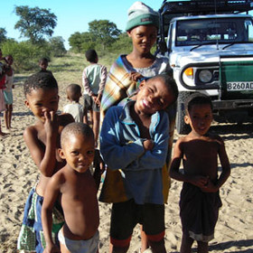 The children at the Bushman village enjoy meeting visitors.